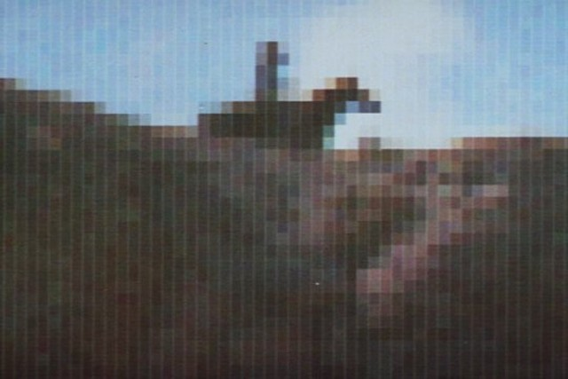 The gunslinger's pixelated view of his quarry, Peter. - MGM PICTURES