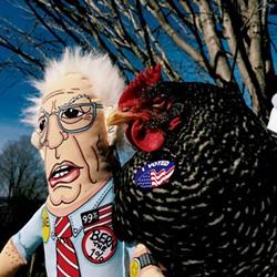 Edna the chicken with Bernie
