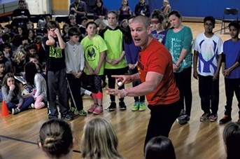 Tom Murphy speaking to fourth and fifth graders at Thomas Fleming School in Essex Junction - MATTHEW THORSEN