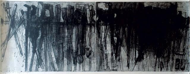 """Tongs 2"" and ""Dense Tongs"" by Lynn Newcomb"