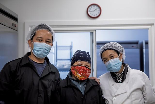From left: Nurbu, Radha and Phura Sherpa - LUKE AWTRY