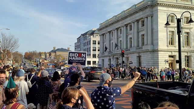 Supporters of Joe Biden celebrating his presidential election in Burlington on November 7, 2020 - JORDAN ADAMS ©️ SEVEN DAYS