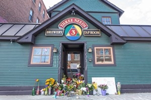 Memorial for Monique Ford outside Three Needs Taproom - LUKE AWTRY ©️ SEVEN DAYS