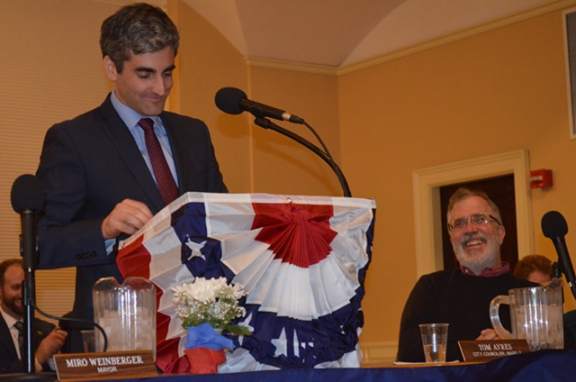 Mayor Miro Weinberger delivers his State of the City address. - ALICIA FREESE