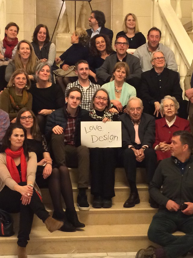 Lyn Severance (holding sign) with friends and family - RACHEL JONES