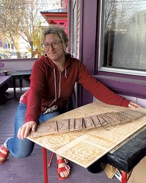 Jen Berger with laser-cut quilt squares - COURTESY OF JEN BERGER