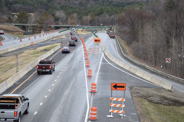 Traffic heads south on Interstate 89 at the Waterbury exit during a 2015 bridge construction project. - FILE: TERRI HALLENBECK