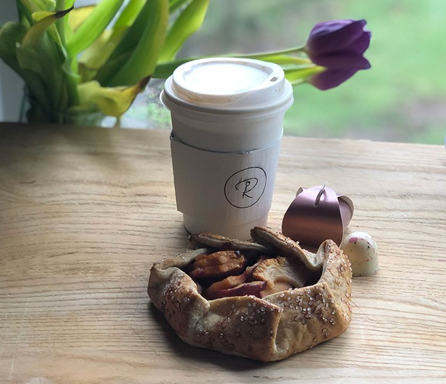 Coffee and an apple galette from Rosie's Confections - JORDAN BARRY ©️ SEVEN DAYS
