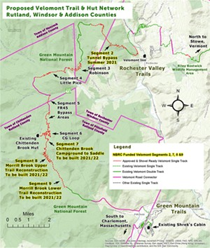Proposed Velomont Trail & Hut Network in southern Vermont. - COURTESY OF ANGUS MCCUSKER