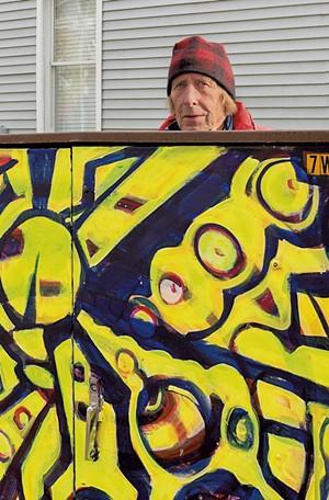 Tony Shull with a painted box on Ward Street - COURTESY OF CAROLYN BATES