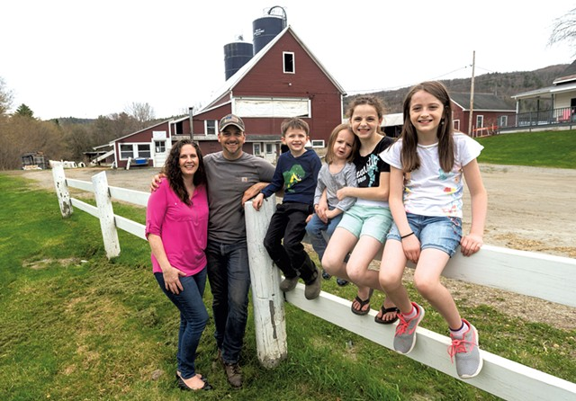 The Gingue family outside their barn in Waterford, from left: Sara, Shawn, Levi, Kenna, Brooklyn and Whitney - JEB WALLACE-BRODEUR