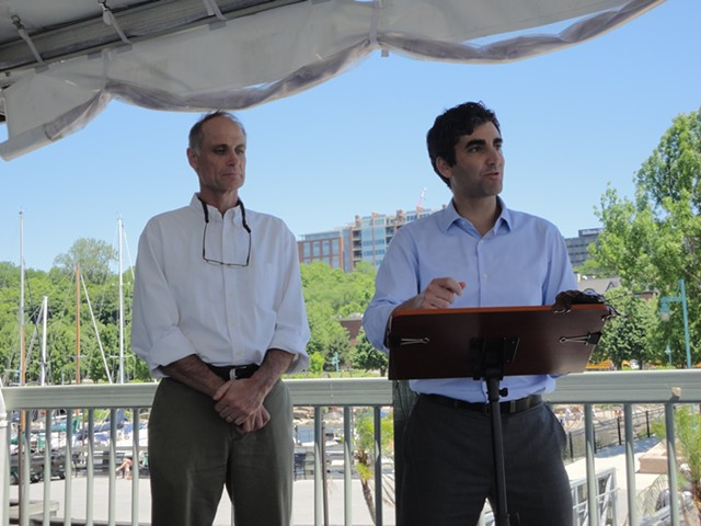Peter Owens, left, stands with Mayor Miro Weinberger. - FILE