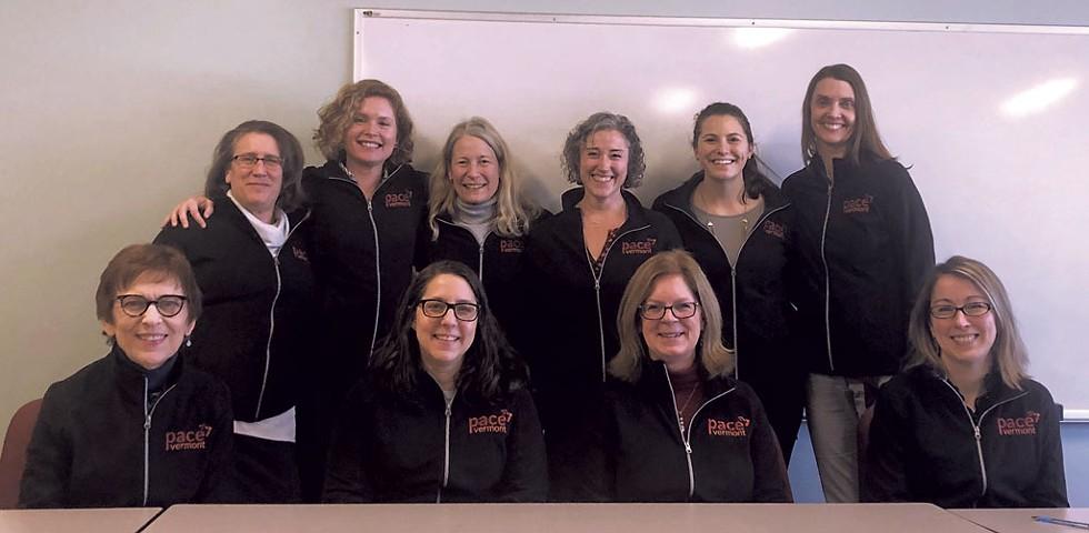 The joint UVM/Vermont Department of Health 2019 PACE Vermont pilot study team. Left to right, seated: Kathleen Horton (VDH), Erin Singer (VDH), Nancy Erickson (VDH), Megan Trutor (VDH). Left to right, standing: Jennifer Hicks (VDH), Christie Vallencourt (VDH), Rhonda Williams (VDH), Andrea Villanti (UVM), Julia West (UVM), Kate Peasley-Miklus (UVM) - COURTESY OF UVM CANCER CENTER