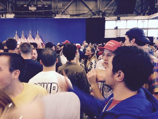 Awaiting Donald Trump at the rally - MOLLY WALSH/SEVEN DAYS