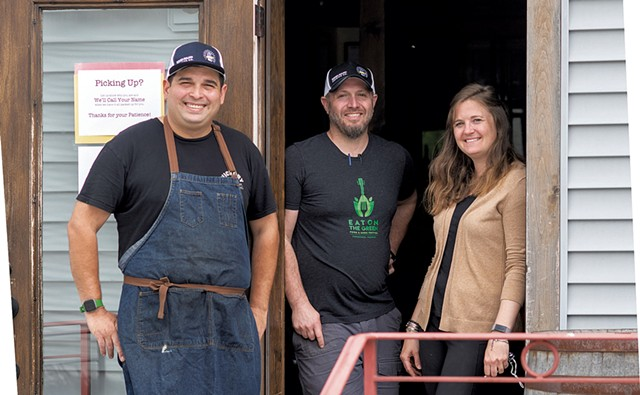 From left: James Kitchens, Ian Huizenga and Eliza Benton of Hired Hand Brewing and Antidote - CALEB KENNA