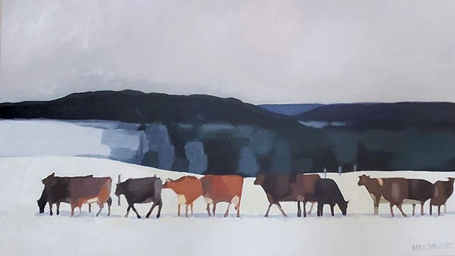 """""""Line of Cows in Winter"""" - COURTESY OF HANNAH SESSIONS"""