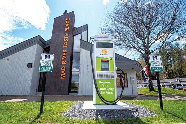 A new electric vehicle fast-charger at Mad River Taste Place in Waitsfield - JEB WALLACE-BRODEUR