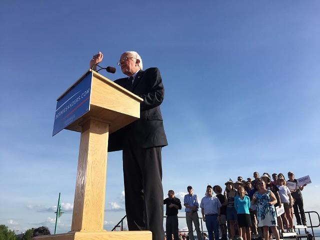 Bernie Sanders at his campaign kickoff last year - FILE: JAMES BUCK