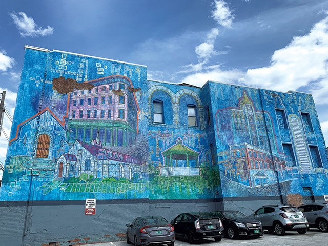 """Rutland City Buildings"" mural by Persi Narvaez in downtown Rutland - SOPHIE X. POLLAK"