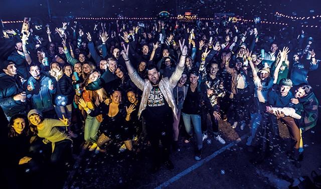 DJ Disco Phantom and the crowd at Backside 405 - LUKE AWTRY