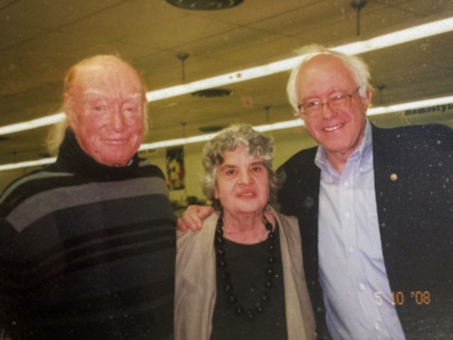 From left: Ed and Anne Bemis with Sen. Bernie Sanders in 2008 - COURTESY OF BEMIS FAMILY