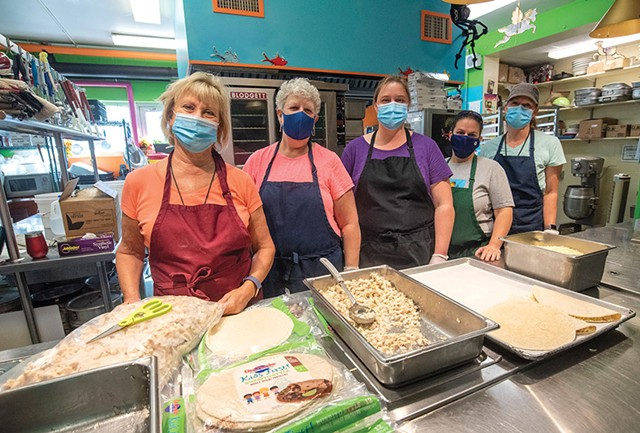 Val Hussey, School food service director, Hardwick; From left: Val Hussey, Debbie DeVoe, Jayme Lowell, Shannon Walker and Ruth McAllister in the kitchen at Hardwick Elementary School - JEB WALLACE-BRODEUR