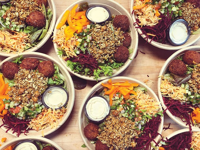 Honey Road falafel salads packed for takeout - COURTESY