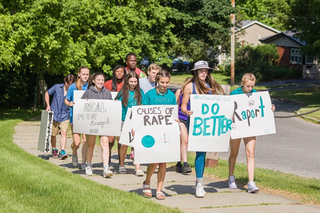 Students marching outside Rice Memorial High School - OLIVER PARINI
