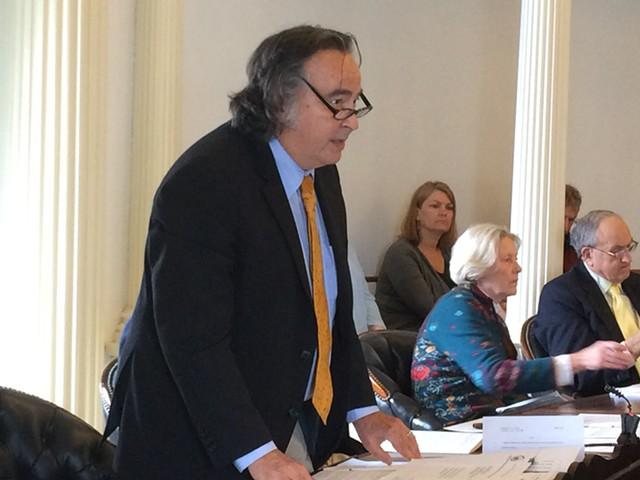 Sen. Anthony Pollina (P/D-Washington) argues against privatization of the Office of Risk Management. - NANCY REMSEN