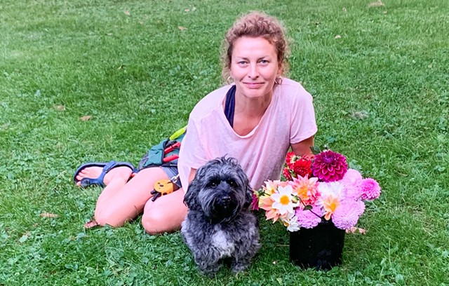 Audrey Bernstein and Marty the Terripoo - COURTESY OF POKER HILL FLOWER FARM