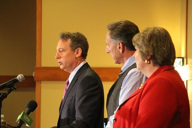 Federal receiver Michael Goldberg, Gov. Peter Shumlin and Secretary of Commerce Pat Moulton Wednesday at Jay Peak - PAUL HEINTZ