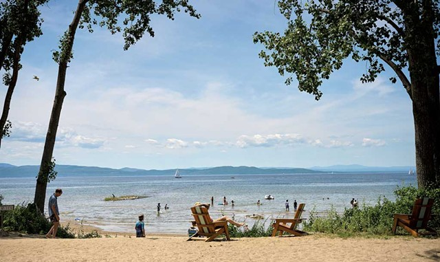 The Burlington Surf Club beach, with a view of Lake Champlain and the Adirondacks - BEAR CIERI