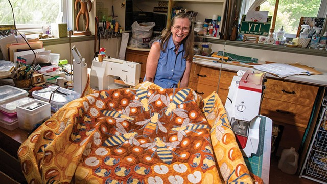 Hope Johnson with one of her bee-themed quilts - GLENN RUSSELL