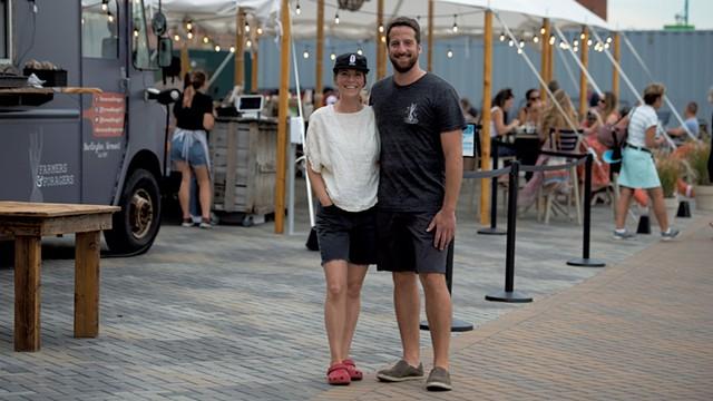 Lauren Johnson and Solomon Bayer-Pacht at their waterfront restaurant - DARIA BISHOP