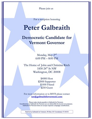 An invitation to Vermont gubernatorial candidate Peter Galbraith's May 2 fundraiser in Washington, D.C. - COURTESY: GALBRAITH FOR GOVERNOR