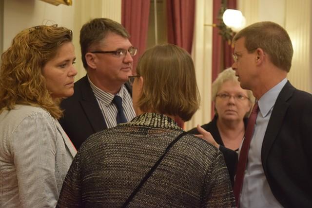 House leaders confer late Monday on marijuana legislation. - TERRI HALLENBECK
