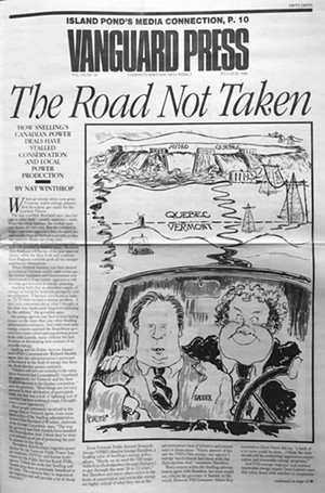 Tim Newcomb's first political cartoon for the cover of the Vanguard Press - COURTESY