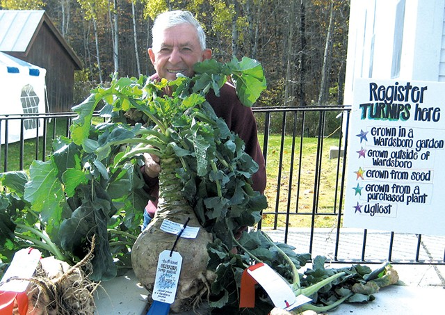 Alan Bills with a prize-winning Gilfeather turnip
