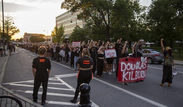 Protesters in downtown Burlington last summer - FILE: JAMES BUCK