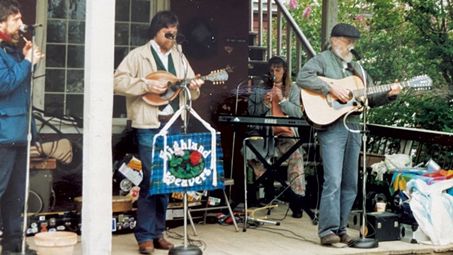 The Highland Weavers at the Shelburne Museum, circa 1991, from left: Robert Resnik, Tim Whiteford, Lucie Whiteford and Marty Morrissey - COURTESY OF LUCIE WHITEFORD