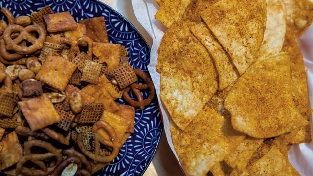 Housemade Doritos and Chex mix - JAMES BUCK