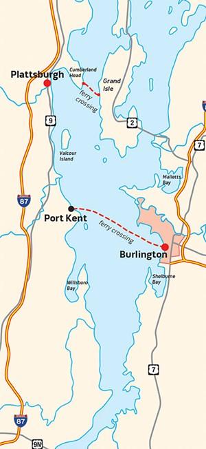Lake Champlain Transportation's ferry routes - COURTESY