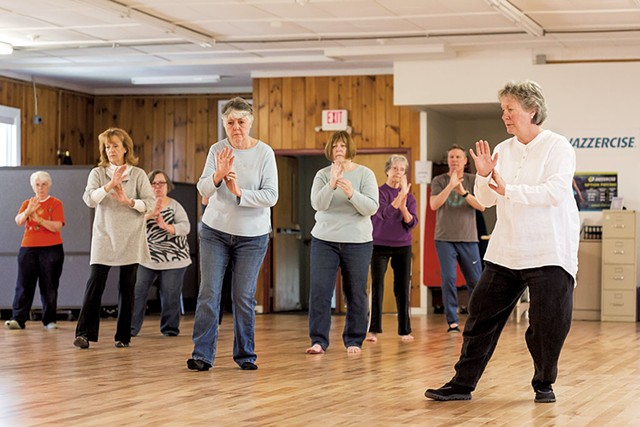 A tai chi class at the Heineberg Senior Center in Burlington - OLIVER PARINI