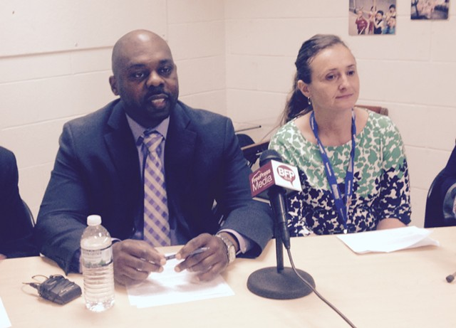 Superintendent Yaw Obeng and Burlington Technical Center director Tracy Racicot at a press conference Wednesday - MOLLY WALSH