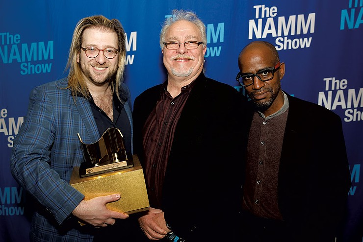From left: Joshua Sherman, Francis Manzella and Benjamin J. Arrindell after winning the NAMM TEC Award for Studio Design in January 2020 - COURTESY OF NAMM