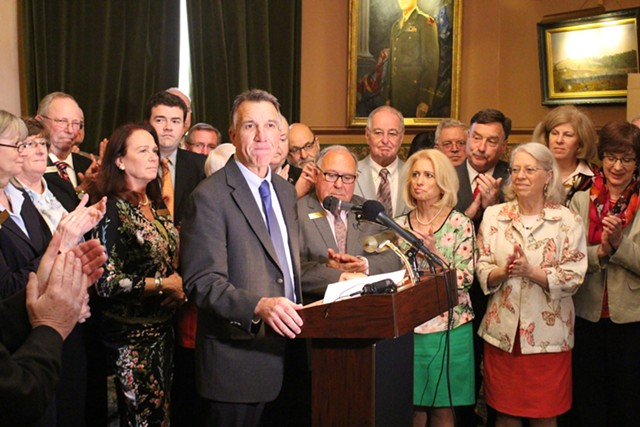 Lt. Gov. Phil Scott accepts the endorsement of House and Senate Republicans Thursday at the Statehouse. - PAUL HEINTZ
