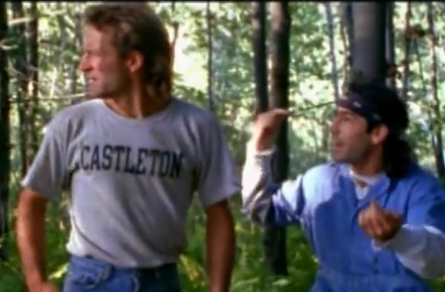 Matthew Bruch wears the famous Castleton T-shirt in a scene with Martin Guigui. - EDGEWOOD STUDIOS