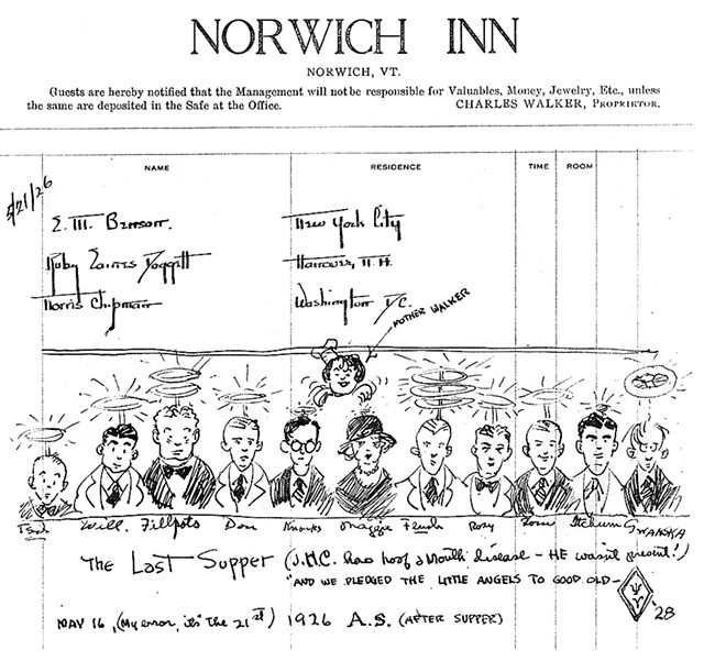 A drawing in the inn's ledger thought to be made by Theodor Seuss Geisel in 1926 - COURTESY OF NORWICH INN