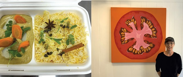 Left: Vegetable curry with saffron rice from Enna; Shannon Bates - COURTESY OF ENNA