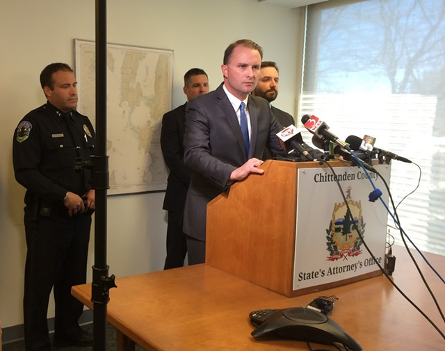 Chittenden County State's Attorney T.J. Donovan speaks at a press conference announcing he will not file charges against a Burlington police officer for shooting and killing a knife-wielding man in March. - MARK DAVIS